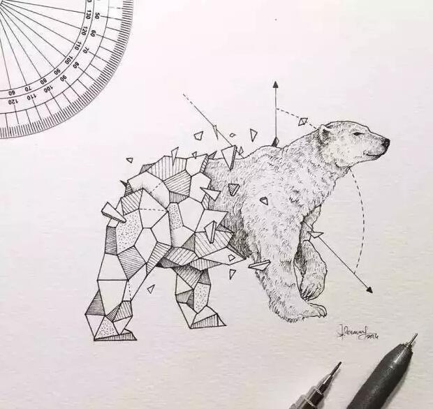 几何图形与动物相融合的重庆纹身图案
